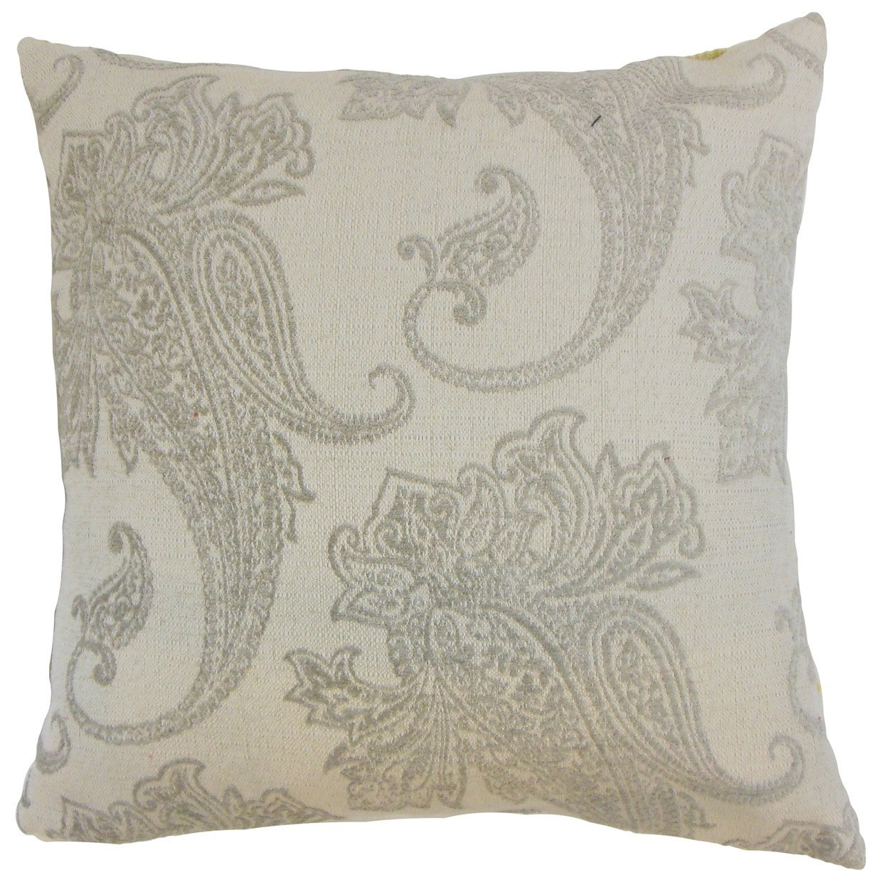 The Pillow Collection Galia Paisley Linen Down Filled Throw Pillow