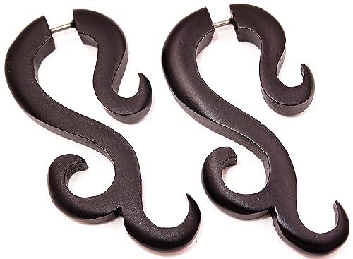 Falso Dilatador madera pendientes Piercing Wooden Gauge Earring Fake par espiral negro Expander: Amazon.es: Joyería