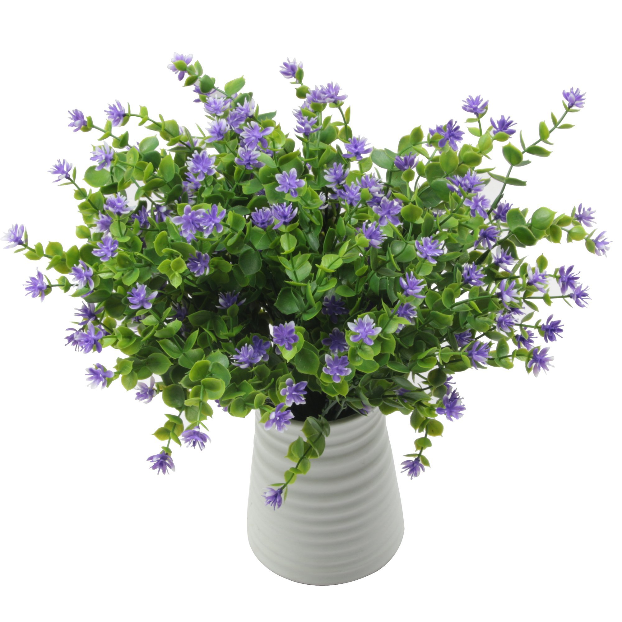Furnily 5 Pack Artifcial Flower Greenery Shrubs Plants Fake Flower Greenery for Window Box Home Deocration Plastic Plants Outdoor (Purple)