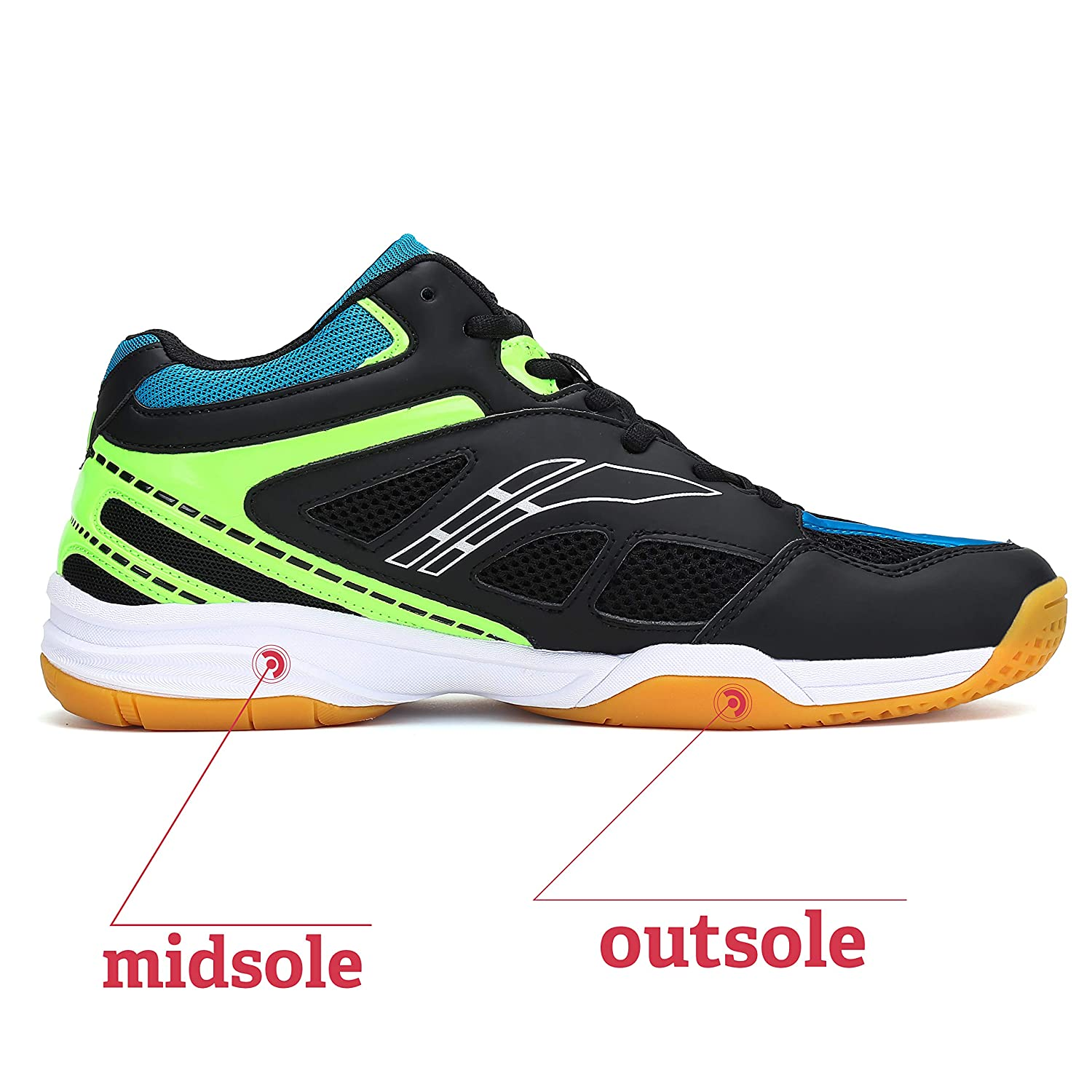 Fashiontown Athletic Mens Sneakers Badminton Shoes Non Slip Indoor Court Outdoor Safety Training Shoe