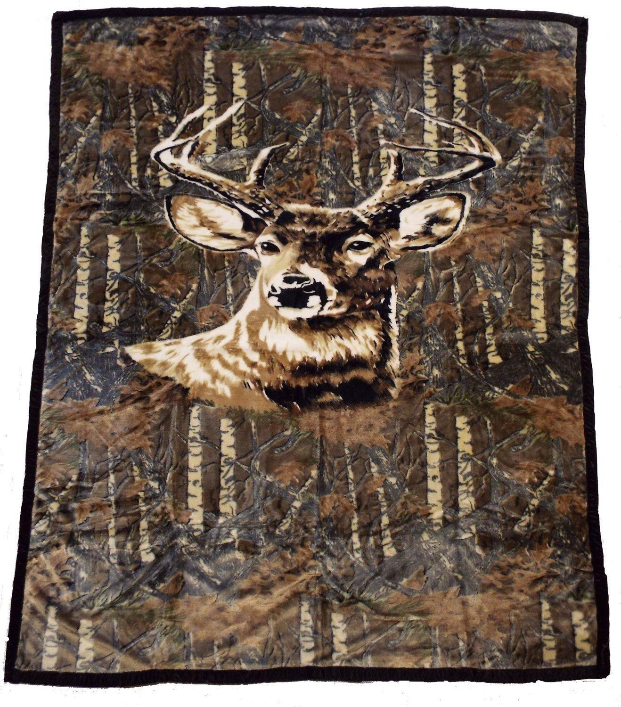50 x 80 Blanket Comfort Warmth Soft Cozy Air conditioning Easy Care Machine Wash Deer Camo Sabine Haumer 6427520992648