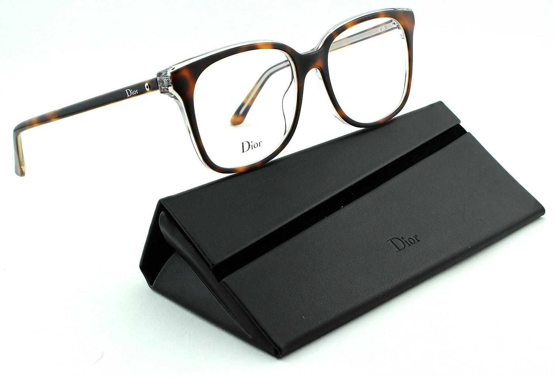 1419a264b2f Amazon.com  Dior Montaigne 26 Women Rectangular Eyeglasses (Havana Crystal  Frame (0U61)