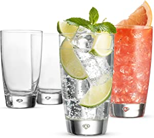 Bormioli Rocco Highball Drinking Glasses - 15 Ounce Water Glass (Set of 4) Mojito Glasses, Heavy Base Bar Glassware - Glass Cups for Juice, Beer, Wine, Whiskey, and Cocktails, Lead-Free glass