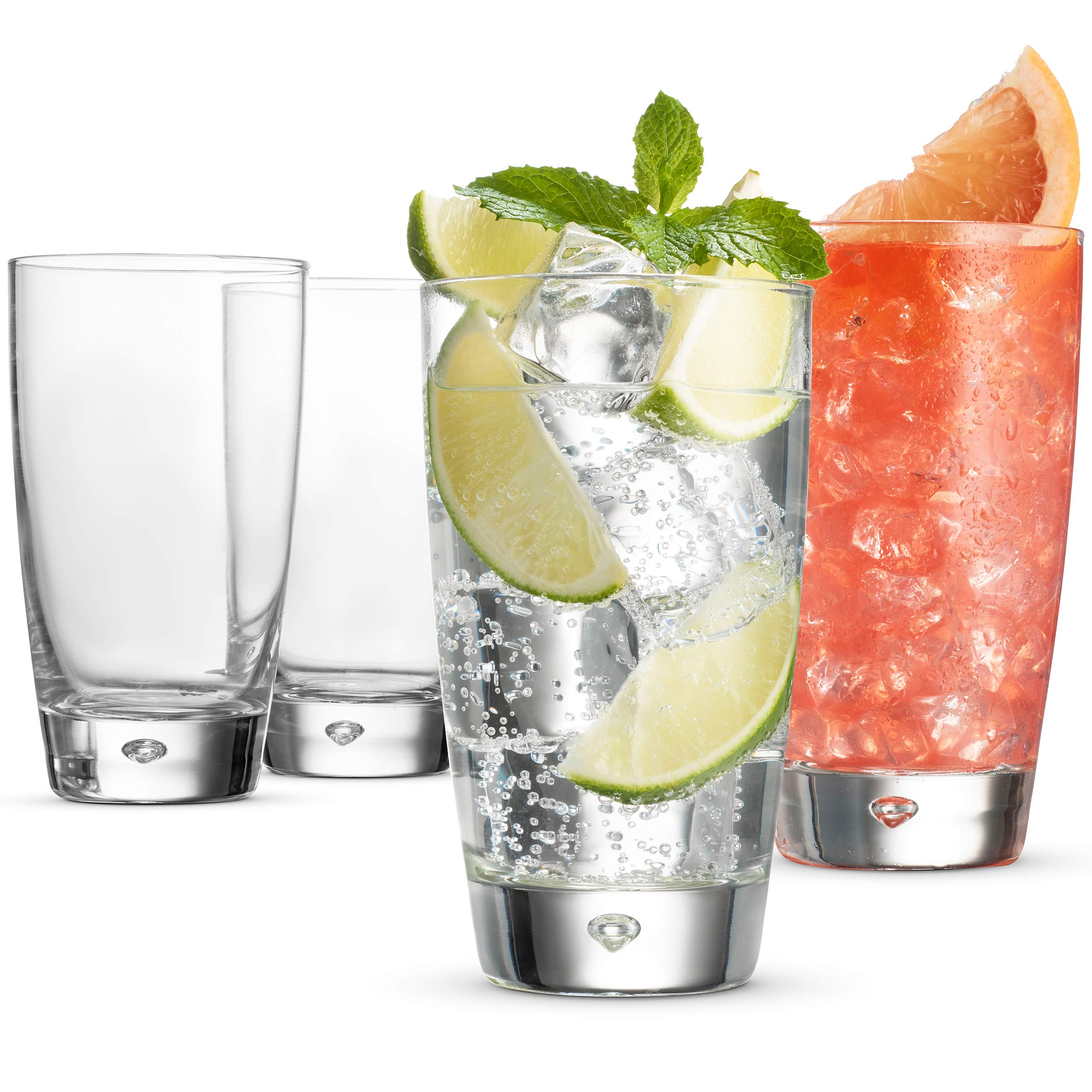 Bormioli Rocco LUNA Italian Drinking Glasses - 15 Ounce Collins glass (Set of 4) Mojito Glasses, Heavy Base Bar Glass - Highball Glasses for Water, Juice, Beer, Wine, Whiskey, and Cocktails, Lead-Free