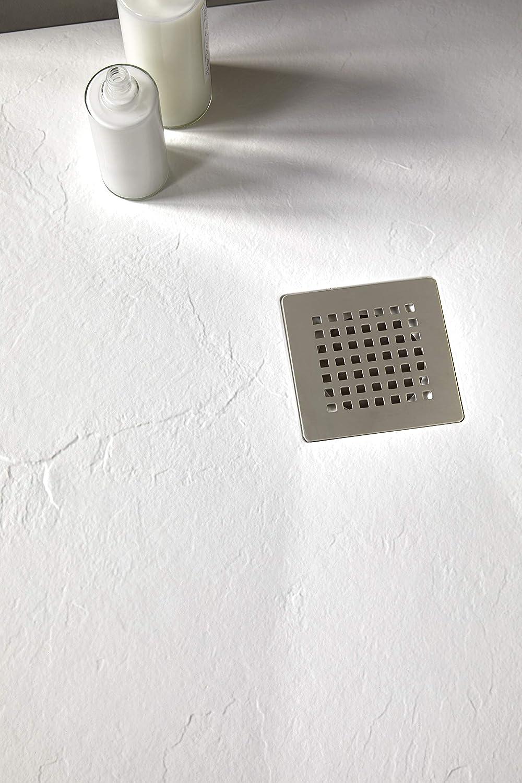 Blanc RAL 9016-90 x 120 Crocket Receveur de Douche//Bac /à douche Italienne Infinity /À carreler en pierre Toutes les mesures n/écessaires mat texture et extra-plat Avec bonde de douche