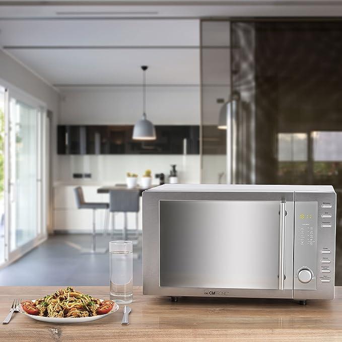 Clatronic mwg 775h mikrowelle mit grill und heißluft 800 watt 23 liter 4 mikrowellen leistungsstufen 95 minuten timer mit