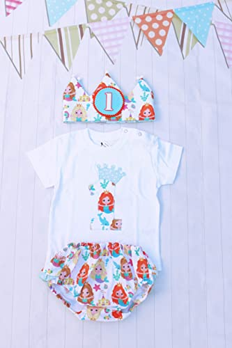 Conjunto primer cumpleaños bebé niñas corona de tela reversible camiseta personalizada cubrepañal: Amazon.es: Handmade