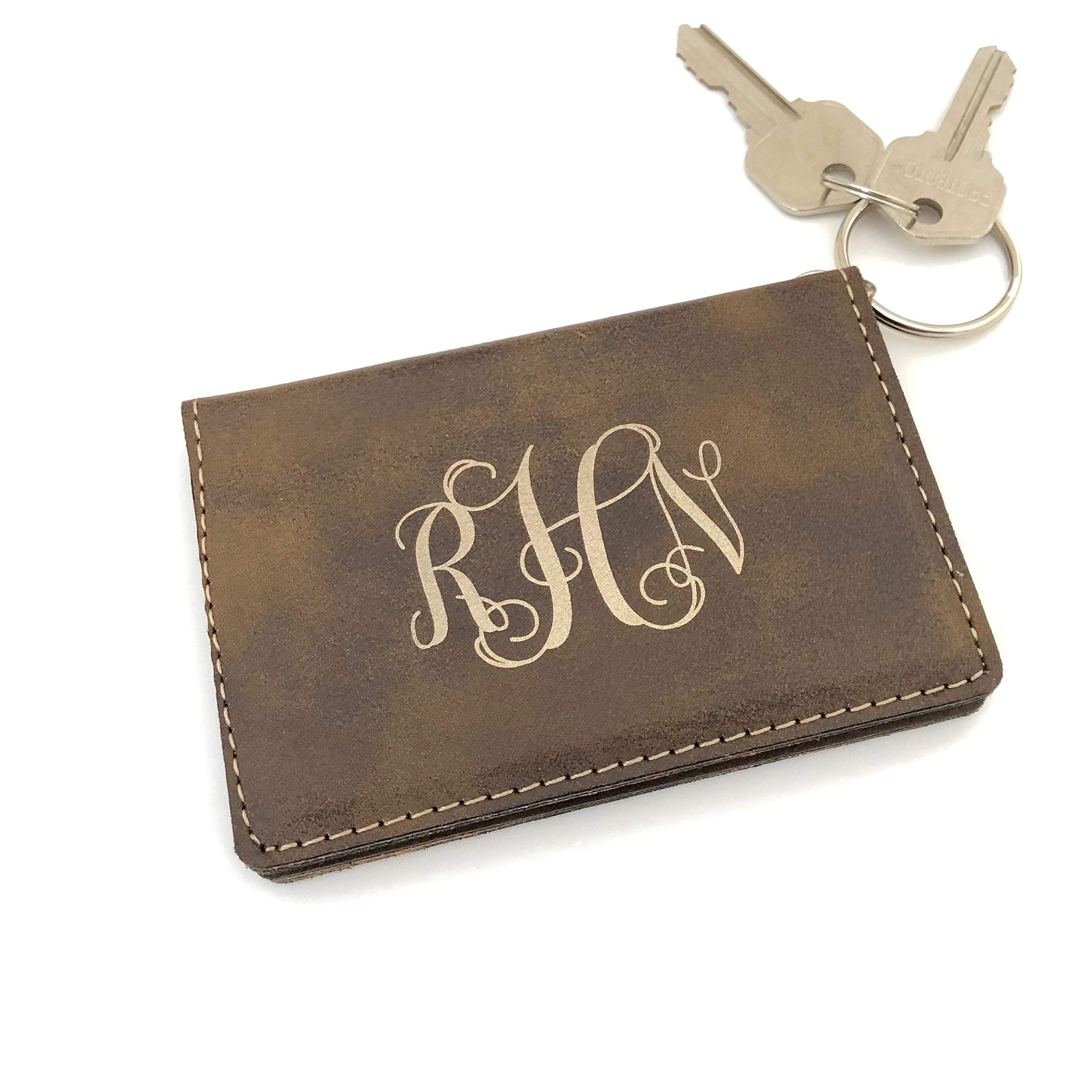 Monogram Keychain Wallet ID Holder Faux Leather Personalized (Rustic Brown)