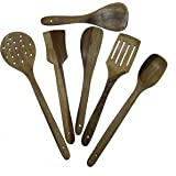 LUNATIC CRAFTWORK Wooden KITCHENWARE (COOKWARES) - Serving and Cooking Non Stick Wooden Spoon Set of 5 Spatula { Kitchen/Cooking Tools }