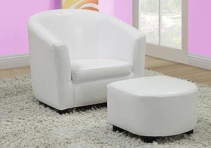 Monarch Specialties Leather Look Juvenile Chair Ottoman, White, 2 Piece Set