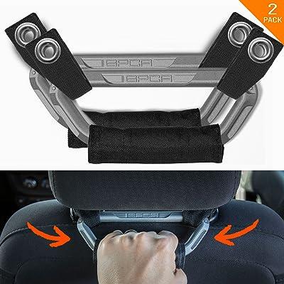 GPCA Headrest Grab Handles PRO Universal for Jeep, Truck,Sports Car,Easy headrest Pole Mount for 4X4 Off-Road Backseat Passengers. GP Back Grip Patent Pending. (Metallic Aluminum): Automotive