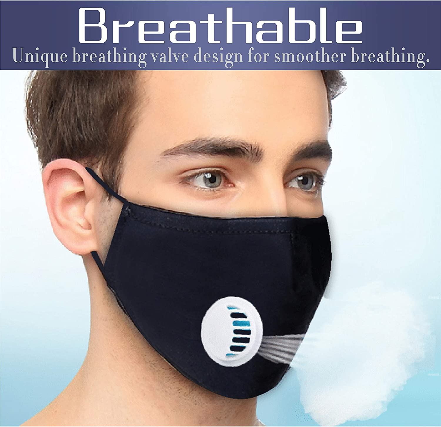 B086N448LR NP 3 pcs Cotton Face Cover with 6 pcs Actived Carbon Filter, Washable & Reusable Face Shield with Adjustable Earband, for Men 81X-h9GvRsL