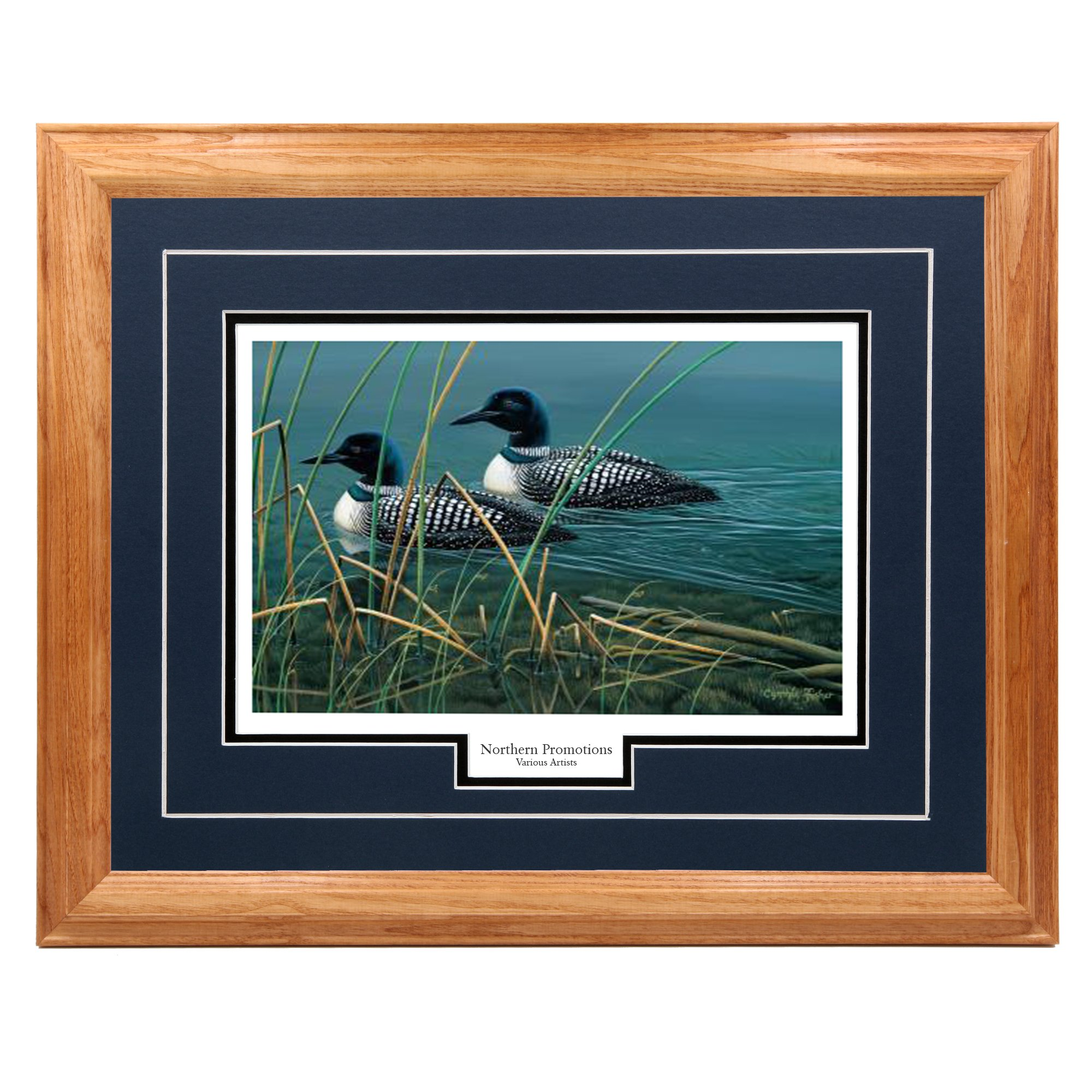 ''Together Always'' - Cynthie Fisher – Loons for Life and Nature Classic Wall Art Print for Home / Office / Hotel / Cabin / Gift, 17 x 21 in., Blue Mat / Light Oak Frame – More Frames Available