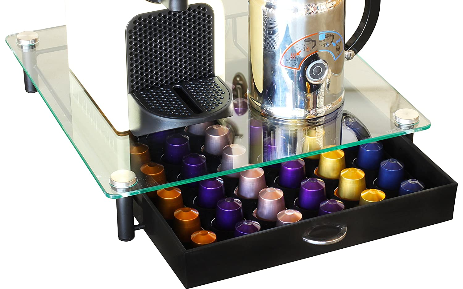 Elegant Amazon.com: DecoBros Coffee Pod Storage Mesh Nespresso Drawer Holder For 56  Capsules, Black: Office Products