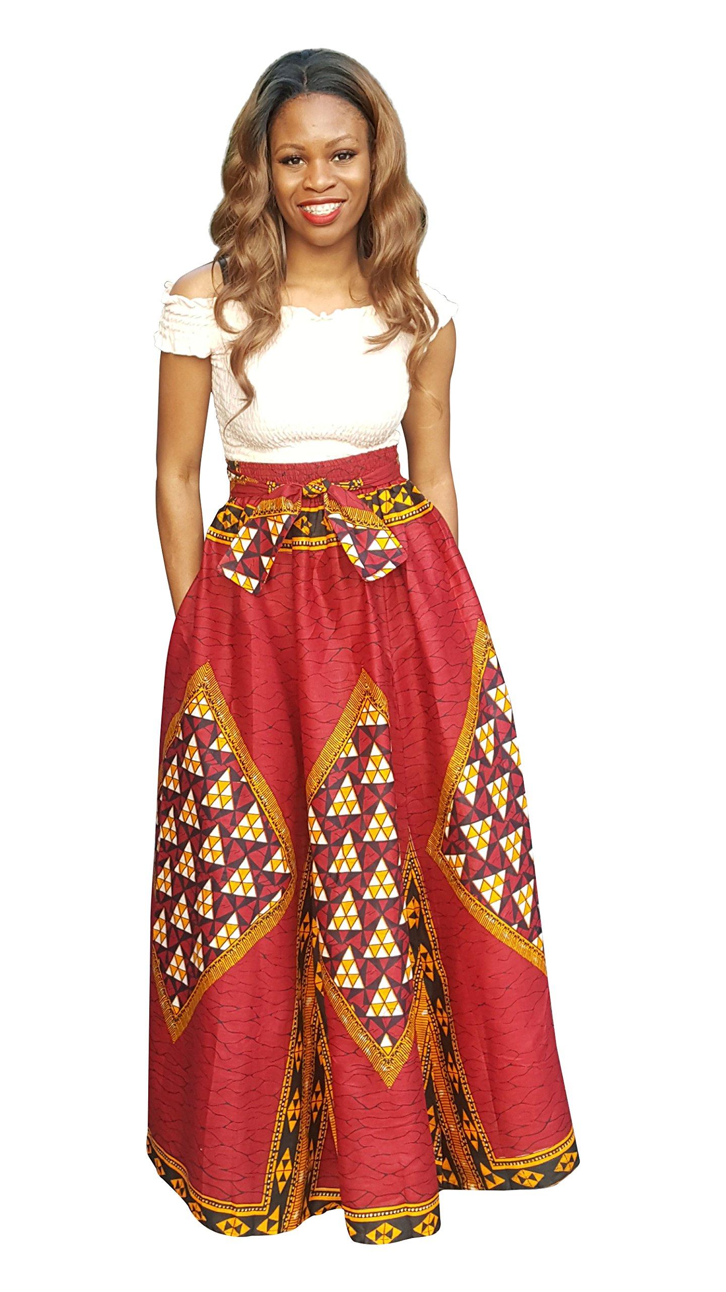 Dupsie's Red African Print Diamond High Waist Maxi Skirt