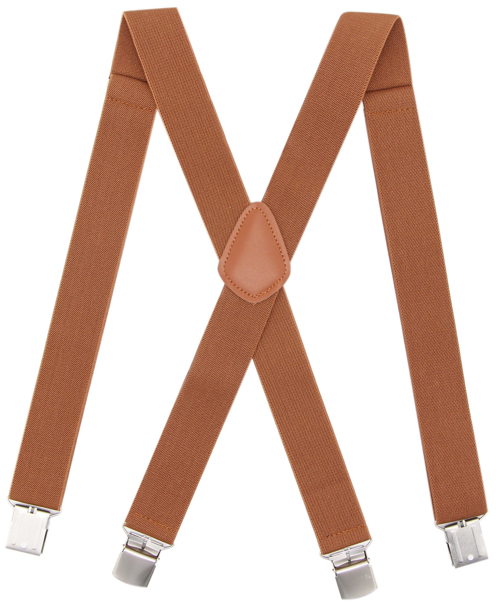 Bioterti Men's Heavy Duty X- Back Suspenders-Adjustable Size, Long & Elastic Braces (Camel)