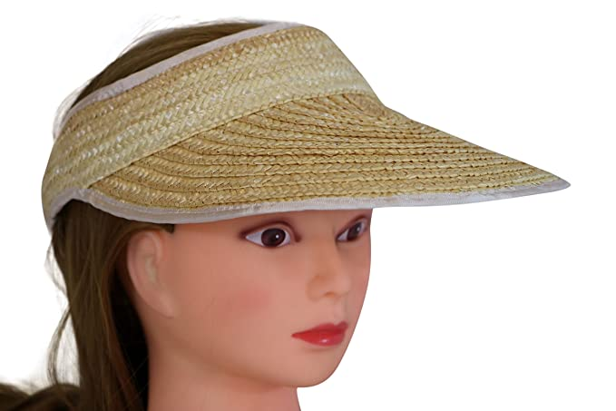 886712fbf86 Salute Women s 100% Braided Straw Sun Visor Hat - Wide Brim ...