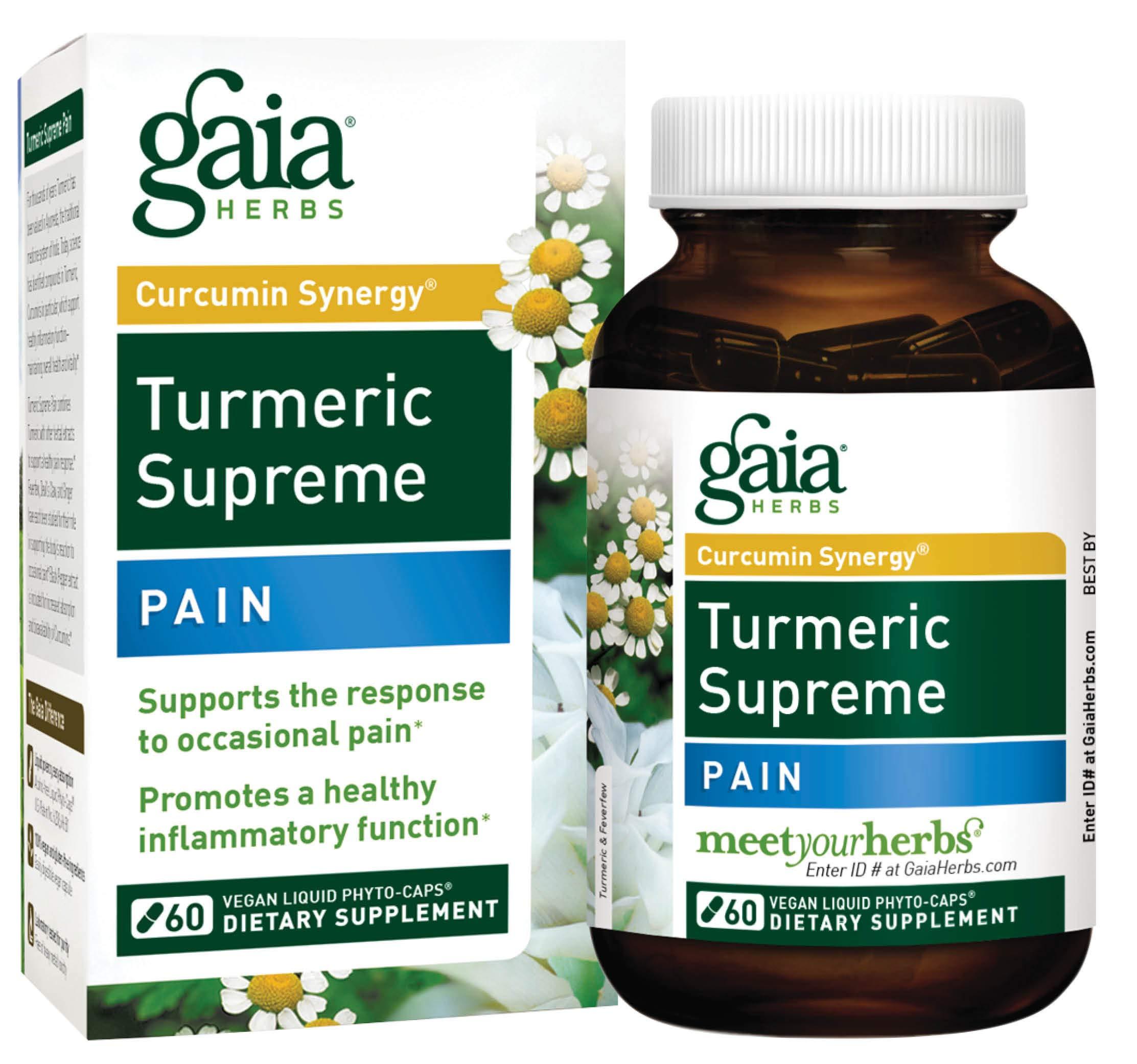 Gaia Herbs, Turmeric Supreme Pain, Herbal Pain Supplement with Curcumins, Vegan Liquid Capsules, 60 Count