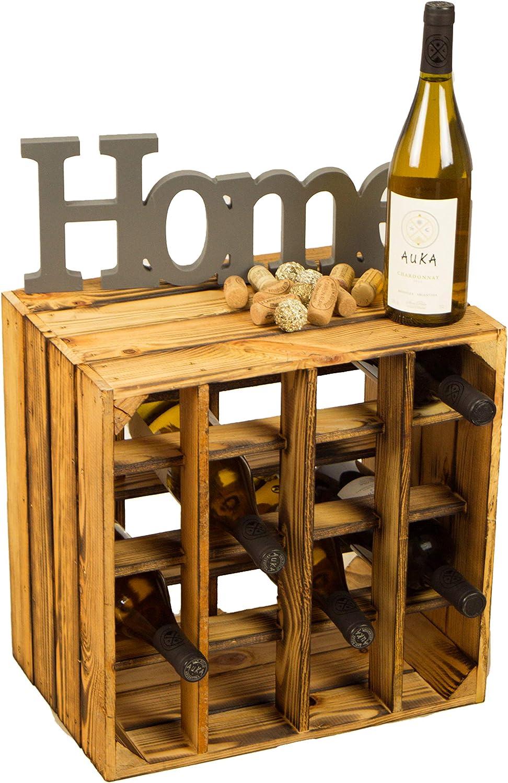 Geflammtes Weinregal für bis zu 16 Flaschen 40x40x27 cm Kistenkolli Altes Land Wein Regal | Flaschenregal: Amazon.de: Küche & Haushalt -