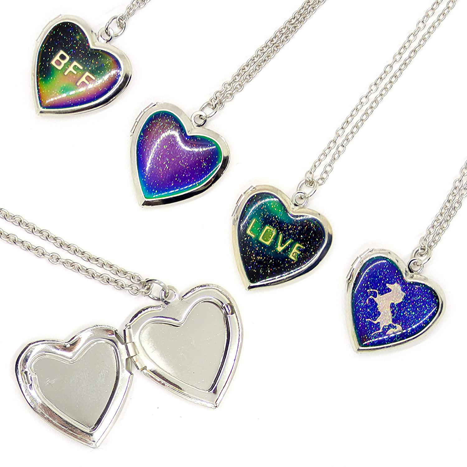 4 Mood Necklaces für Girls - Color Changing Mood Locket Necklaces mit Glitter Heart Locket Pendants - Unicorn, Bff, Love und Heart Glitter Pendants - Cute Mood Jewelry - Stocking Stuffers für Girls