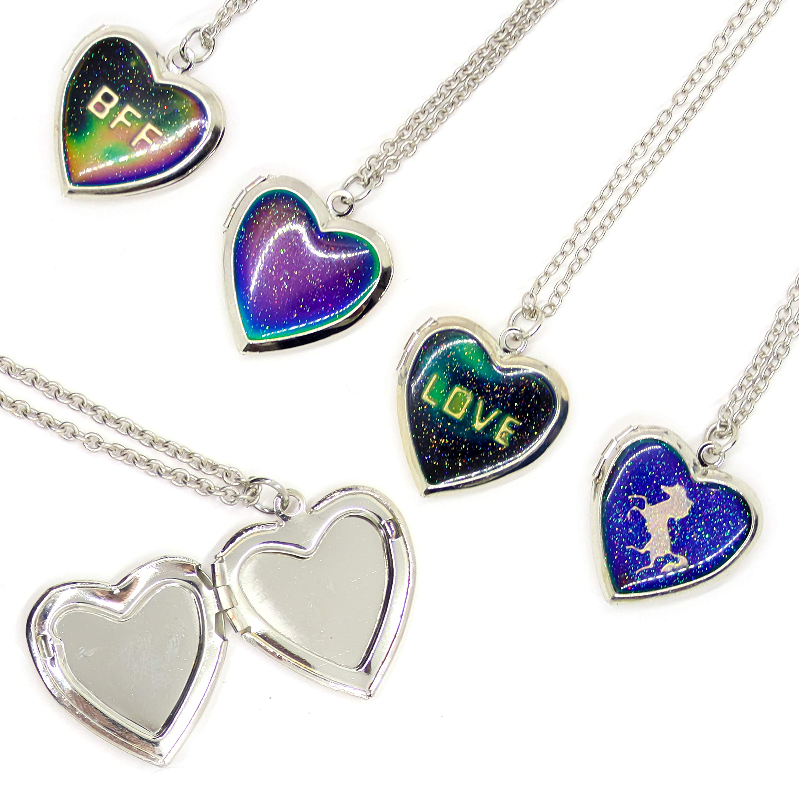 FROG SAC 4 Pcs Mood Locket Necklaces for Girls - Color Changing Mood Necklace Set with Glitter Heart Locket Pendants - Unicorn, BFF, Love and Plain Heart Glitter Pendants - Mood Jewelry for Girls by FROG SAC