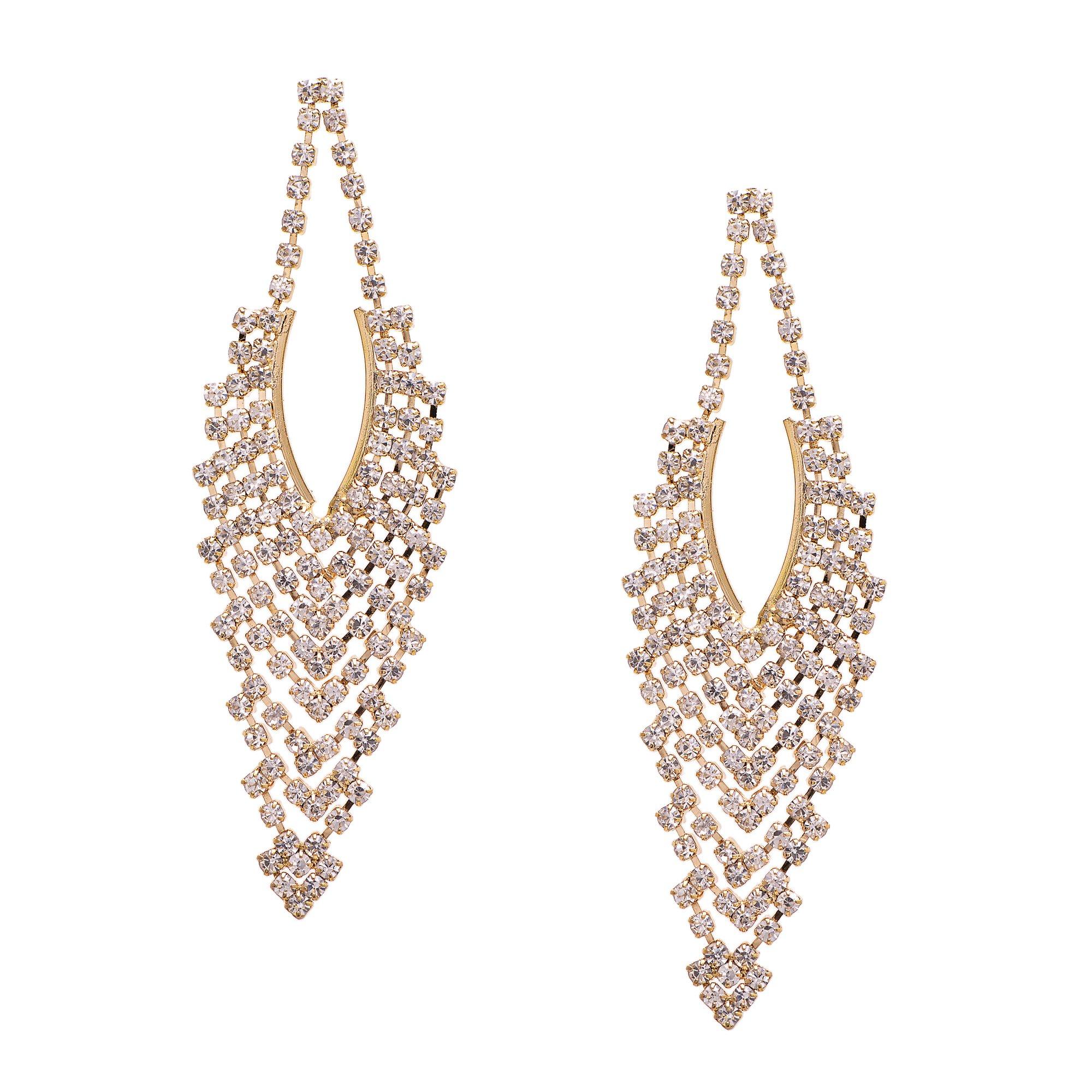 Spinningdaisy Vintage Style Rhinestone Dangling Chandelier Earrings (Gold)