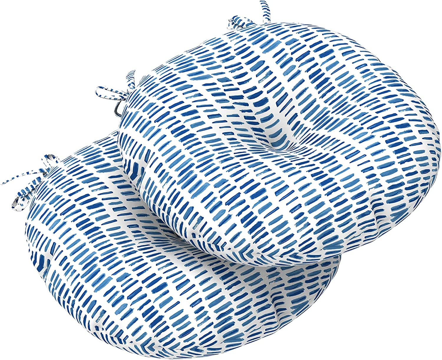 """LVTXIII Indoor/Outdoor Seat Cushions All Weather Patio Chair Pads with Ties, Comfortable Round Bistro Chair Cushions for Home Office and Garden Furniture Decoration 17""""x17""""x5"""", 2 Pack, Blue Pebble"""