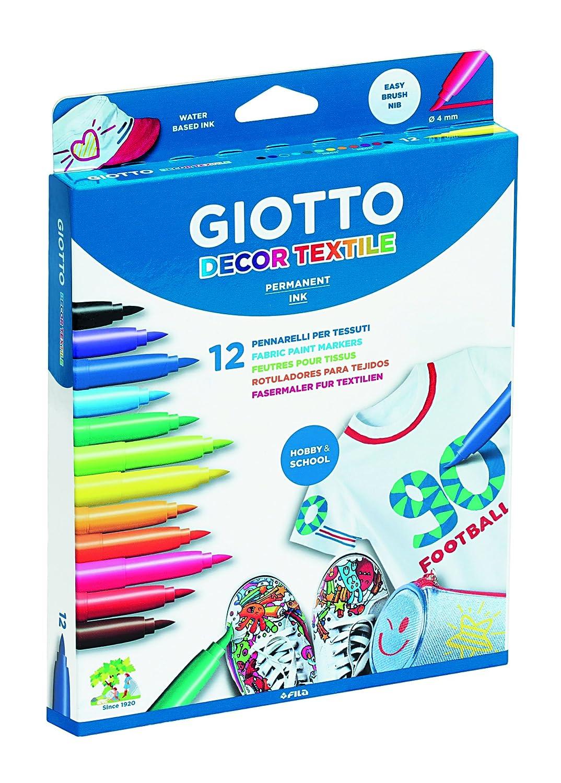 8 Colori Standard + 4 Colori Fluo Decor Textile Pennarelli per Tessuti Giotto