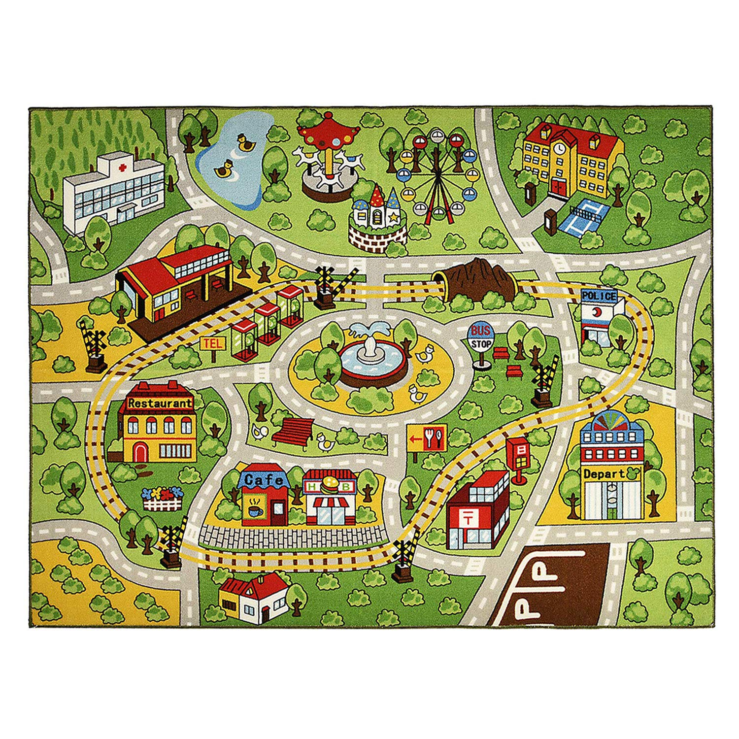 INCX Kids Carpet Playmat Rug for Toy Cars Large Car Rug Carpet with Non-Slip Backing Kids Educational Rug with Roads and Cars,Safe and Fun Play Rug for Bedroom Playroom(52'' x59'')