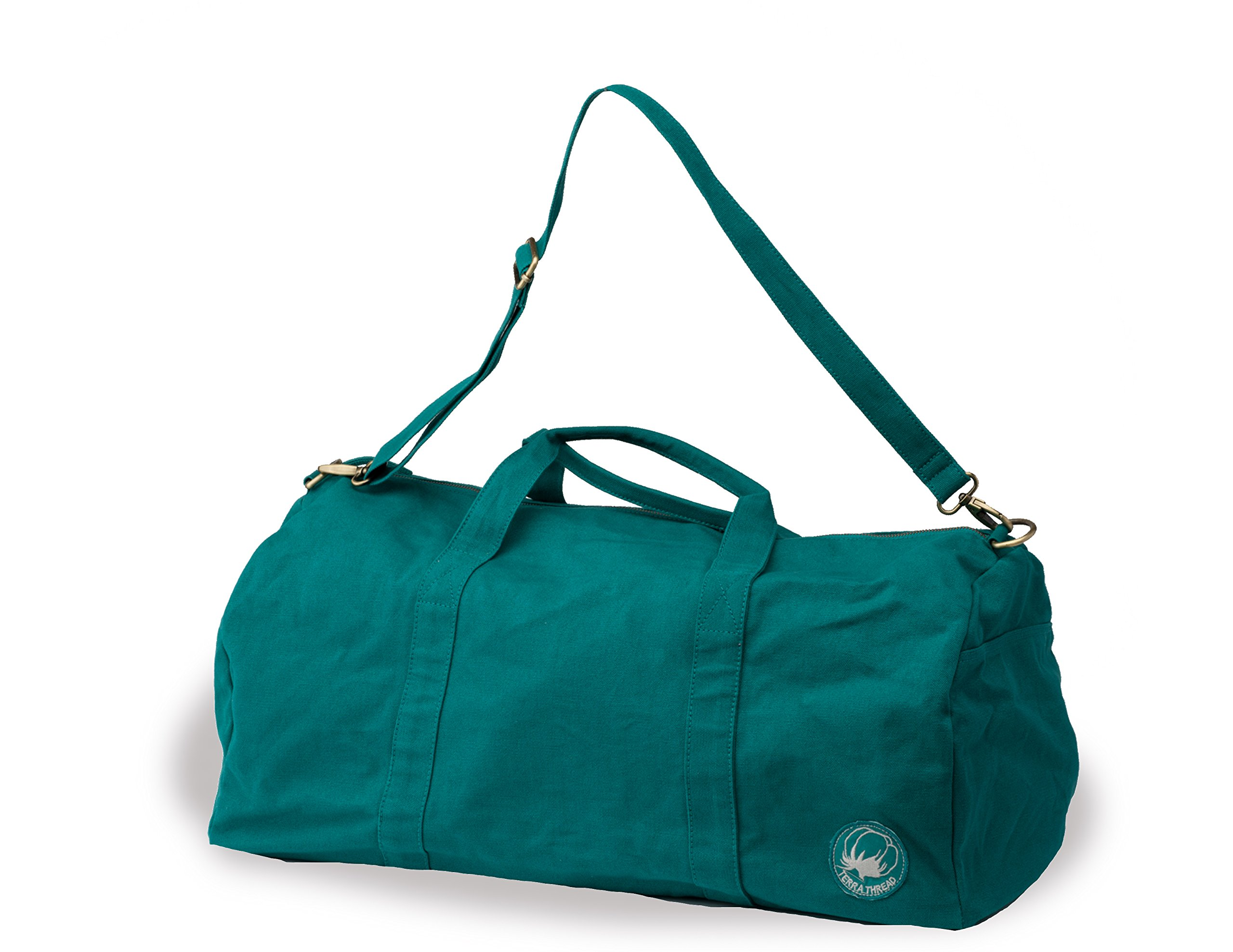 Organic Cotton Canvas Duffel Bag. Fair trade travel bags for men and women. by Terra Thread (Image #1)
