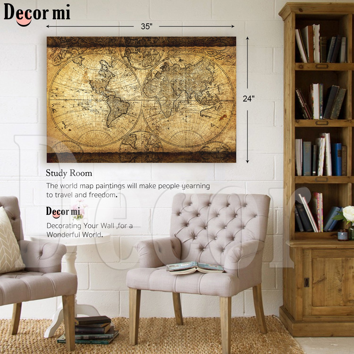 Decor mi vintage world map canvas wall art retro map of the world decor mi vintage world map canvas wall art retro map of the world canvas prints framed and stretched for living room ready to hang 24x35 gumiabroncs Gallery