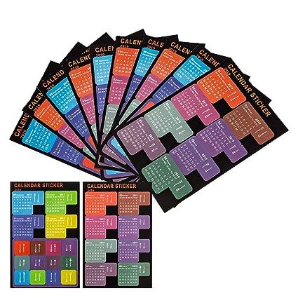 LUTER 2019 Pestañas del Calendario Marcadores Adhesivos Indices Planificador Mensual Tab Index Stickers para Bullet Journal, Agenda, Escuela (5 Sets, ...