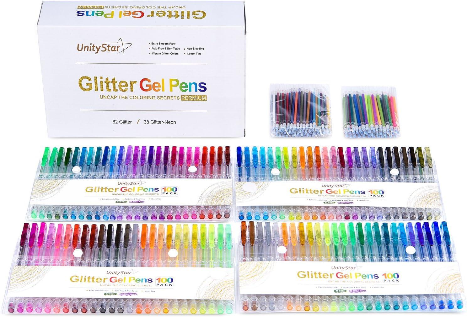200 con purpurina bolígrafos de gel, unitystar Gel Pen Set con 100 brillante purpurina colores & 100 recambios de tinta para niños adultos para colorear libro Dibujo Doodling y relieve: Amazon.es: Oficina