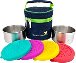 The Pinwheelers Stackable Duo | Mini Stainless Steel Containers w/ Insulated Lunch Bag | Set of 2, Leakproof Silicone Lids | Reusable, Kitchen Containers, Stackable Lunch Containers (Blue-Green)