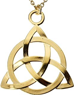 "product image for From War to Peace Celtic Trinity Knot Gold-Dipped Pendant Necklace on 18"" Rolo Chain"