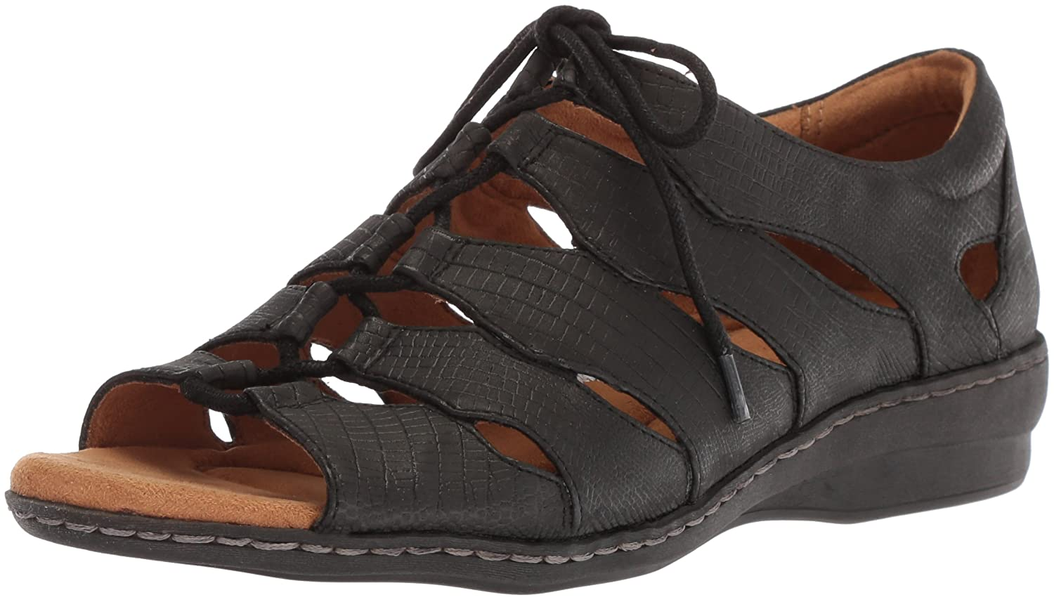 NATURAL SOUL Women's Beatrice Fisherman Sandal B071Z6HK7V 6 B(M) US|Black Lizard