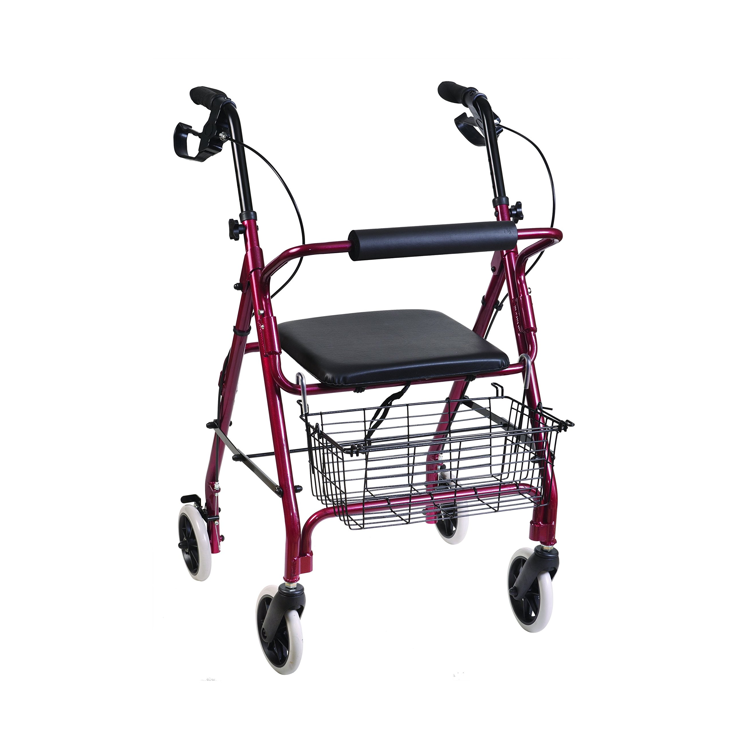 DMI Freedom Lightweight Folding Aluminum Rollator Walker with Adjustable Handle Height, Cushioned Flip Up Seat and Convenient Storage Basket, Burgundy by Duro-Med