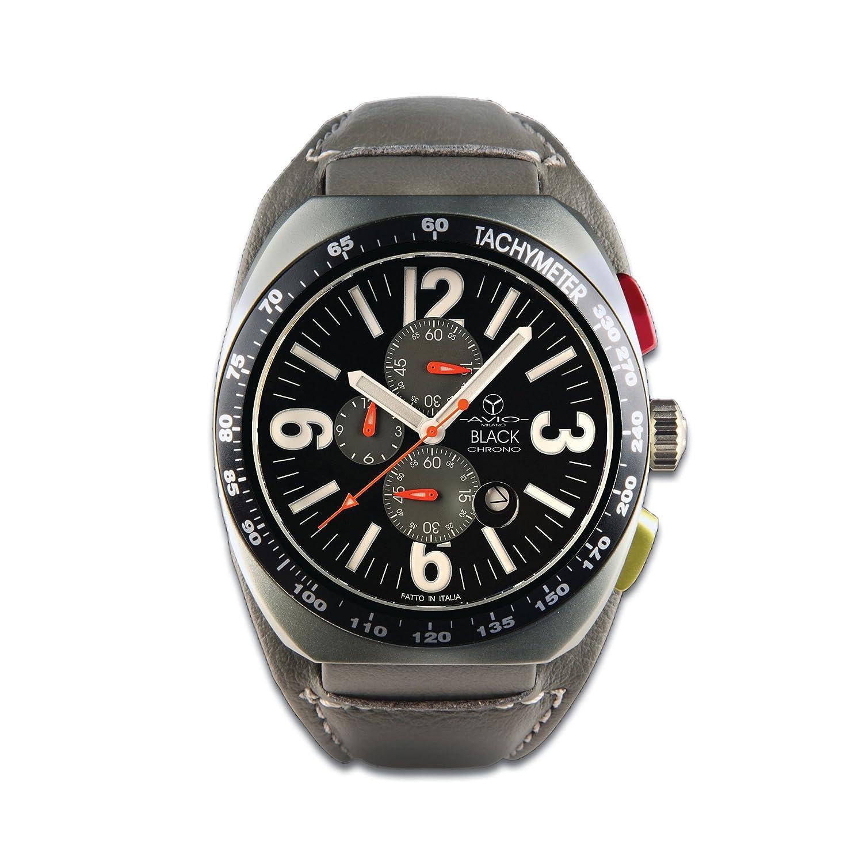 Avio Milano Men'Herren Quarzuhr mit schwarzem Zifferblatt Chronograph Anzeige und Lederband grÜn BK 4800