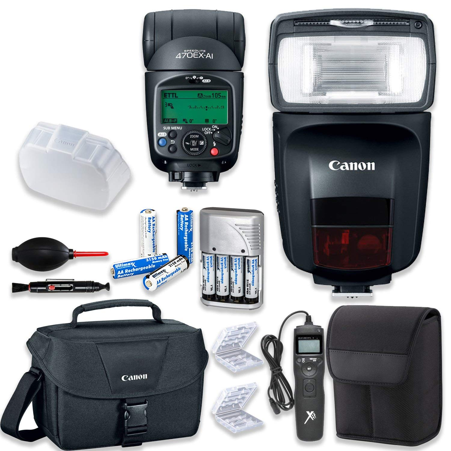 Canon Speedlite 470EX-AI Flash with Canon Speedlite Case + Canon Shoulder Bag + Universal Timer Remote + 4 High Capacity AA Rechargeable Batteries & Charger + Accessory Bundle by Canon (Image #1)