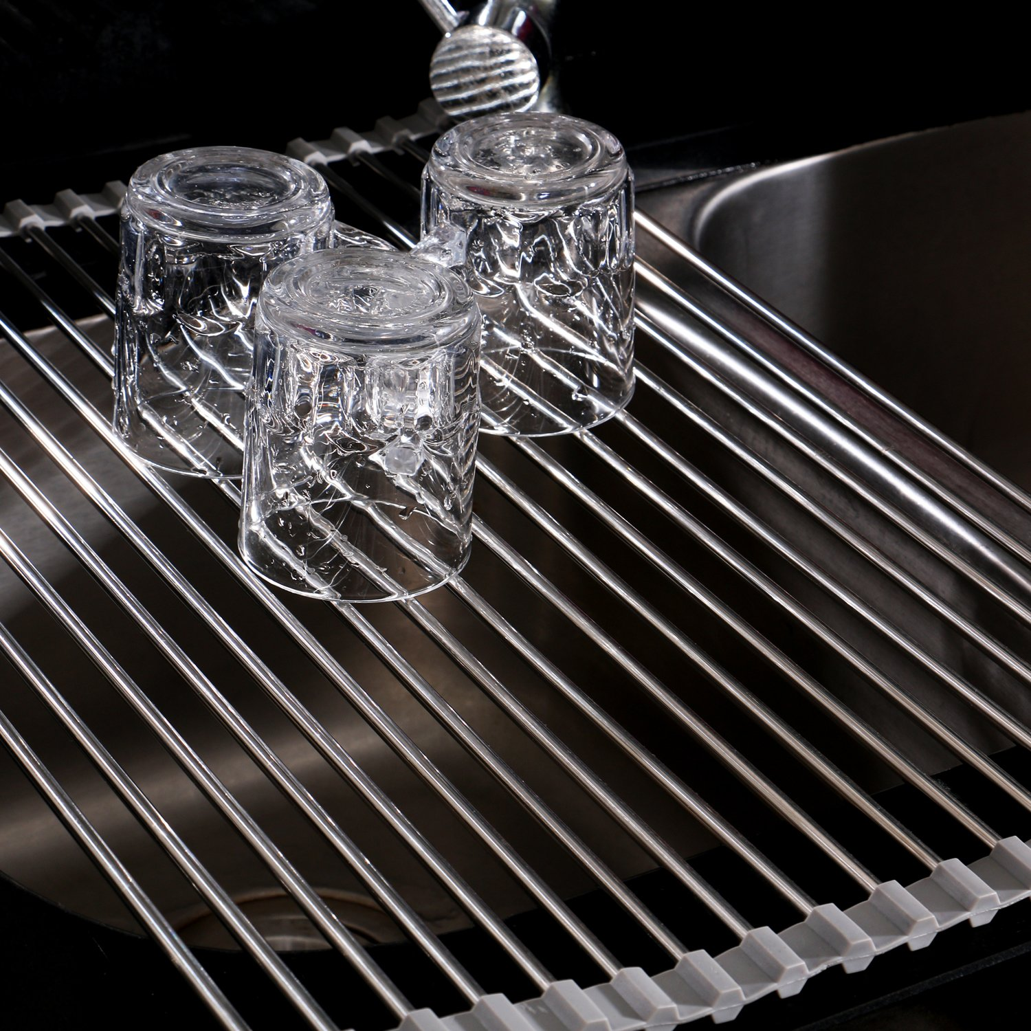 Roll-Up Dish Drying Rack, Stainless Steel, 20-1/2 L x 13-1/8 W x 1/4 H by THETIS Homes by THETIS Homes