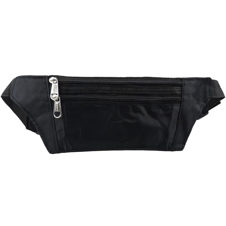 Unknown Mens Slim Money//Security Belt Fanny Pack Zips Travel Onesize Black