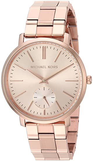 Amazon.com: Michael Kors Womens Jaryn Japanese-Quartz Watch with Stainless-Steel-Plated Strap, Rose Gold, 18 (Model: MK3501: Watches