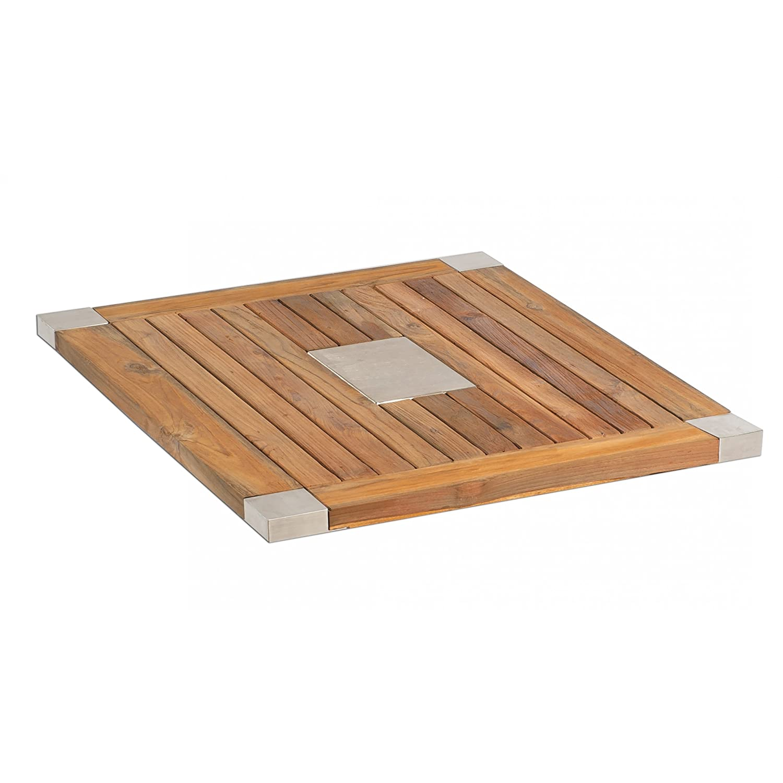 Sonnenpartner Tisch Base Gestell Alu anthrazit Platte OldTeak Edelstahl 90x90 cm