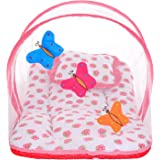 Littly Butterfly Design Cotton Bedding Set with Foldable Mattress, Mosquito Net and Pillow (Red)