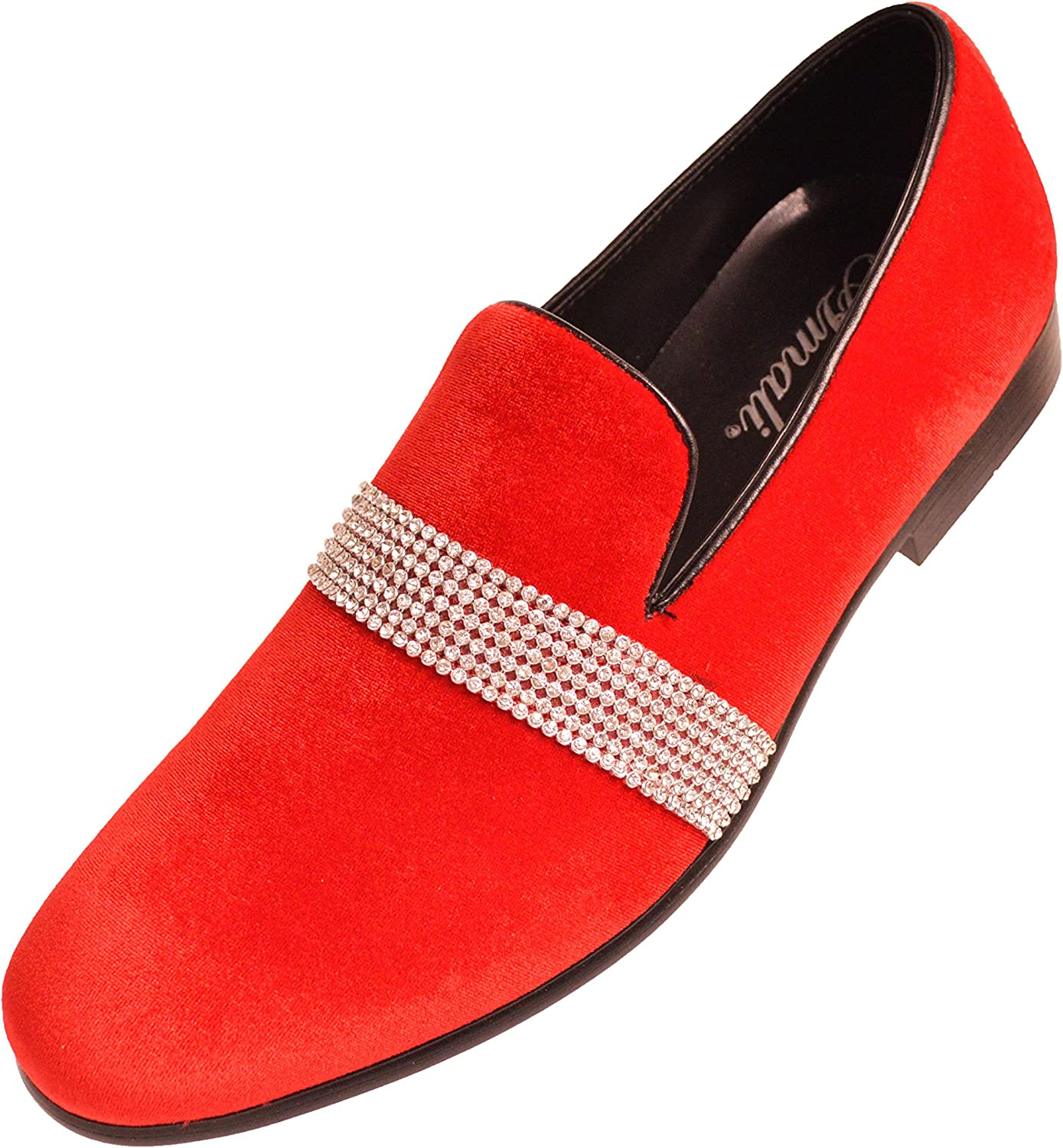 Men/'s Dress Casual Fancy Shoes Slip On Loafers Red//Black Rhinestones Smokers