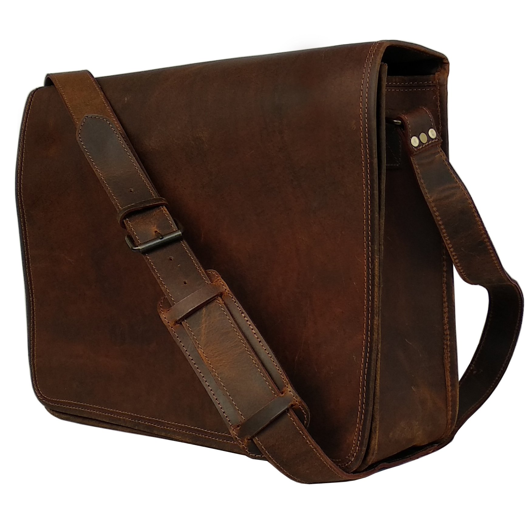 18 Inch Leather Vintage Rustic Crossbody Messenger Courier Satchel Bag Gift Men Women ~ Business Work Briefcase Carry Laptop Computer Book Handmade Rugged & Distressed ~ Everyday Office College School