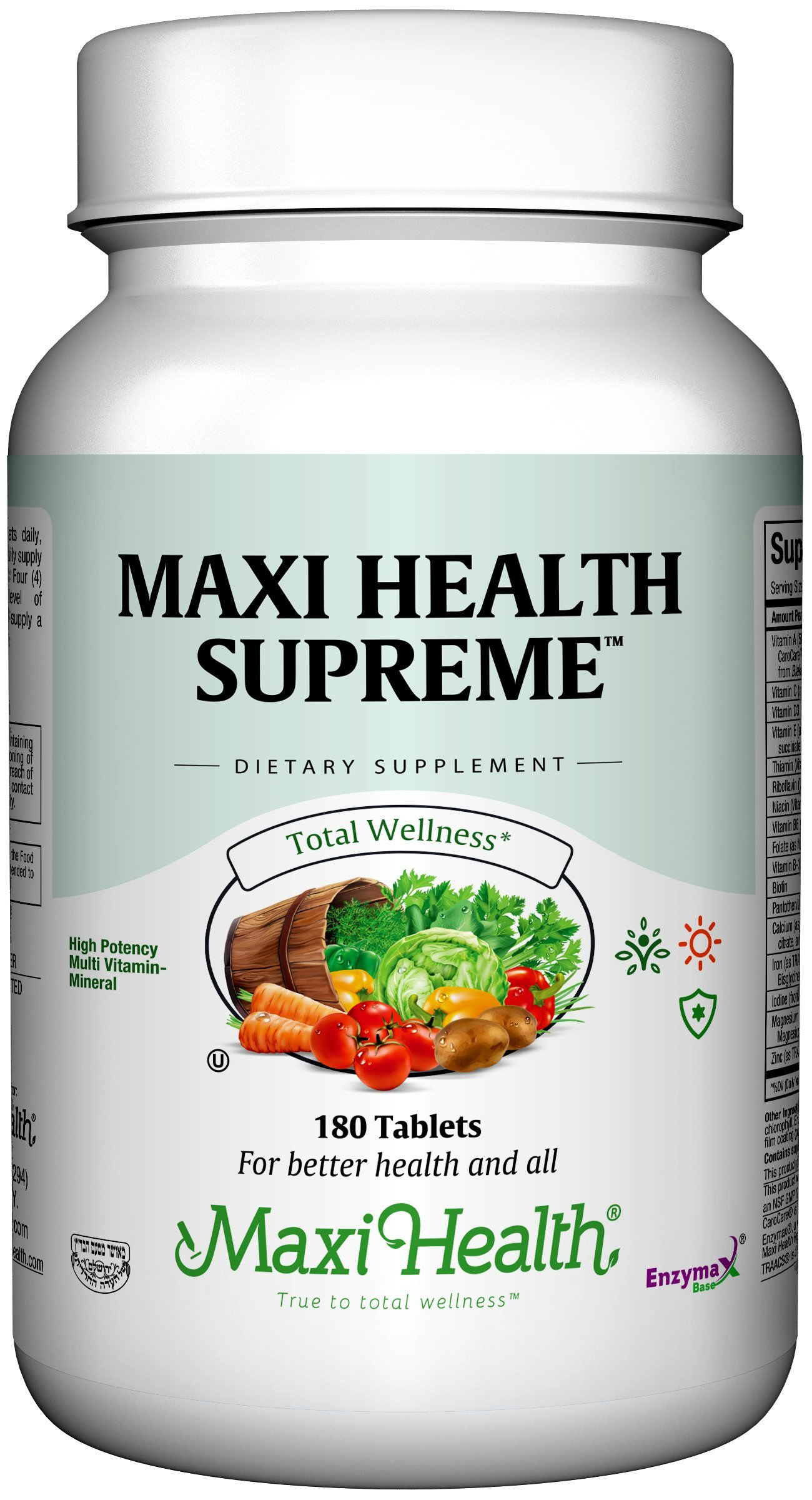 Maxi Health Supreme - High Potency Multivitamin & Mineral  Supplement - 180 Tablets - Kosher