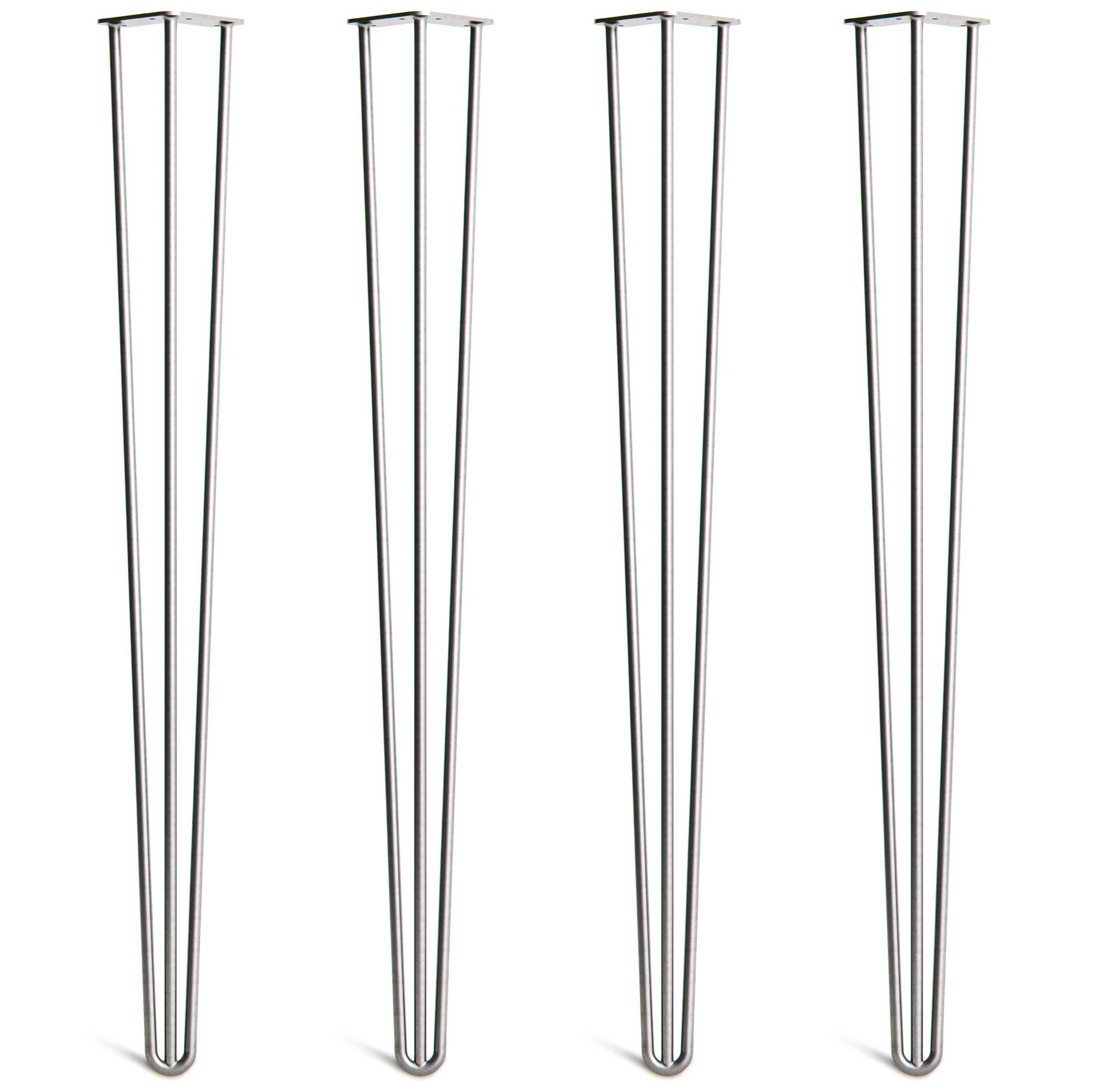 4 x Heavy Duty Hairpin Table Legs – Superior Double Weld Steel Construction With Free Screws, Build Guide & Protector Feet, Worth $10! – Mid-Century Modern Style – 16'' To 40'', All Finishes (1/2 inch) by The Hairpin Leg Co. (Image #1)