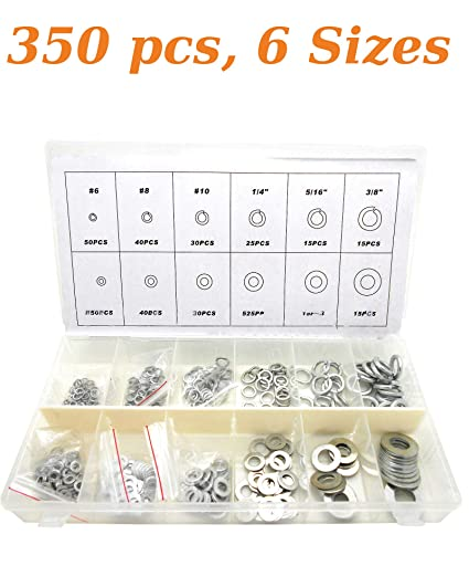 Amazon com: Stainless Steel Flat Washer and Lock Washer Assortment