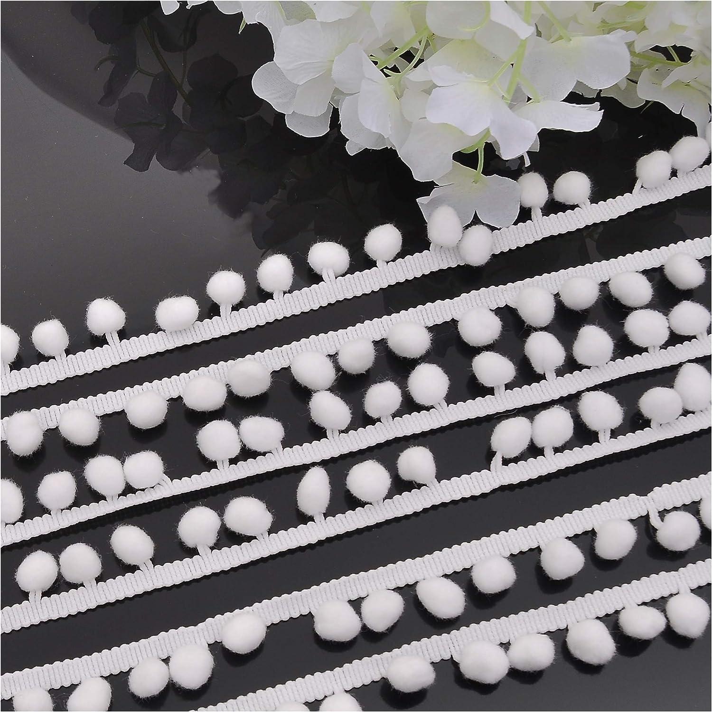 2, White VIVIPA 20 Yards Mini Pom Pom Trim Ball Fringe Ribbon Tassel DIY Sewing Accessory Lace